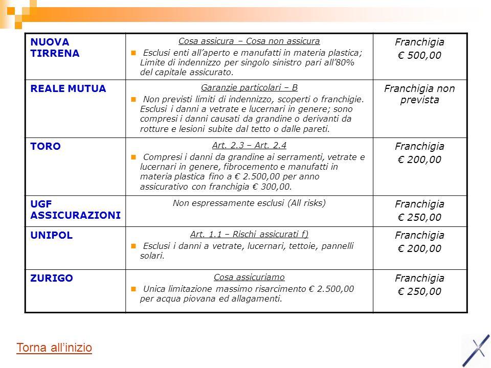 NUOVA TIRRENA Cosa assicura – Cosa non assicura Esclusi enti allaperto e manufatti in materia plastica; Limite di indennizzo per singolo sinistro pari all80% del capitale assicurato.