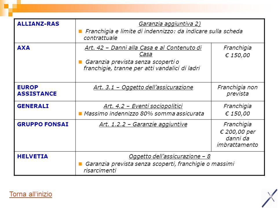 ALLIANZ-RASGaranzia aggiuntiva 2) Franchigia e limite di indennizzo: da indicare sulla scheda contrattuale AXAArt. 42 – Danni alla Casa e al Contenuto