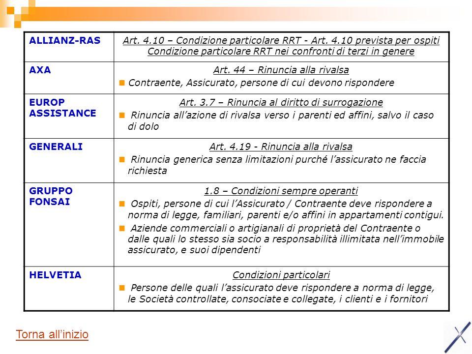 ALLIANZ-RASArt.4.10 – Condizione particolare RRT - Art.