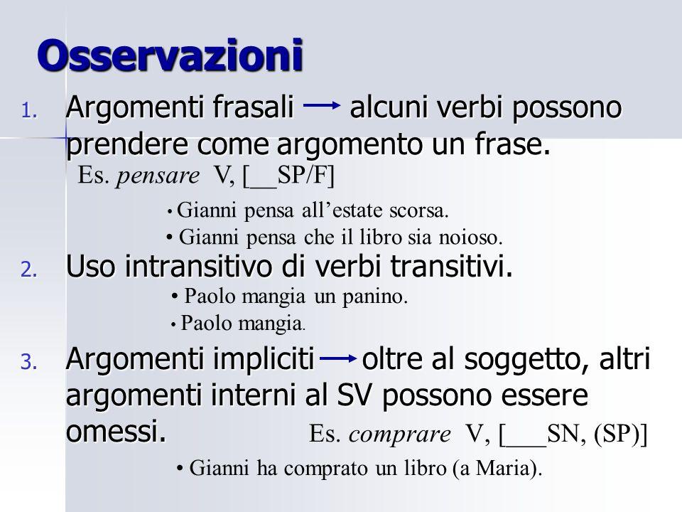 Osservazioni 1. Argomenti frasali alcuni verbi possono prendere come argomento un frase. 2. Uso intransitivo di verbi transitivi. 3. Argomenti implici