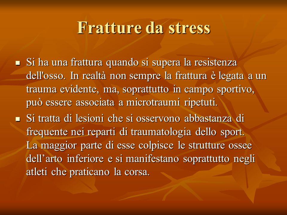 Fratture da stress Si ha una frattura quando si supera la resistenza dell osso.