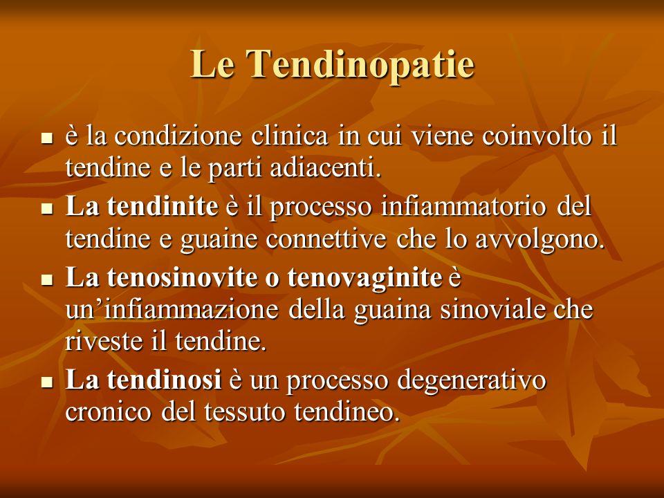 Le Tendinopatie è la condizione clinica in cui viene coinvolto il tendine e le parti adiacenti.