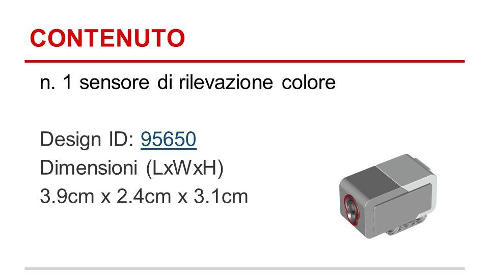 CONTENUTO n. 1 sensore di rilevazione colore Design ID: 9565095650 Dimensioni (LxWxH) 3.9cm x 2.4cm x 3.1cm