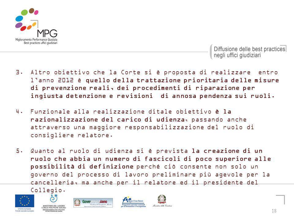 18 3. Altro obiettivo che la Corte si è proposta di realizzare entro lanno 2012 è quello della trattazione prioritaria delle misure di prevenzione rea
