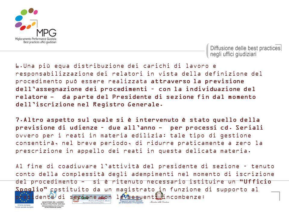 19 6. Una più equa distribuzione dei carichi di lavoro e responsabilizzazione dei relatori in vista della definizione del procedimento può essere real