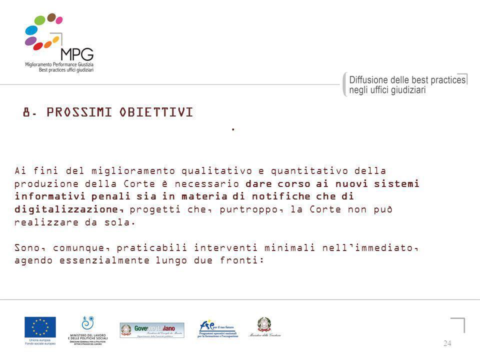 24 8.PROSSIMI OBIETTIVI. 24 Ai fini del miglioramento qualitativo e quantitativo della produzione della Corte è necessario dare corso ai nuovi sistemi