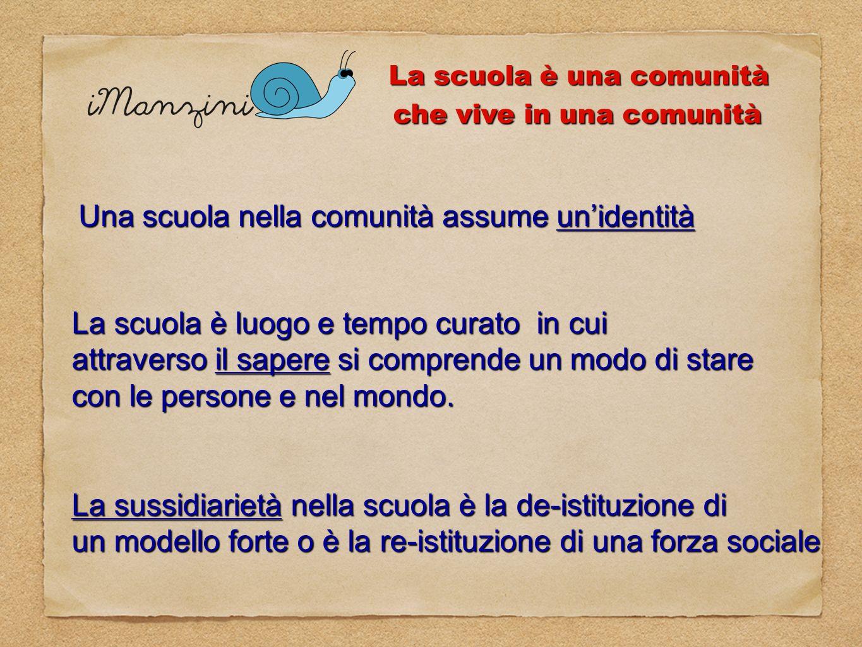 La scuola è una comunità che vive in una comunità Una scuola nella comunità assume unidentità La scuola è luogo e tempo curato in cui attraverso il sa