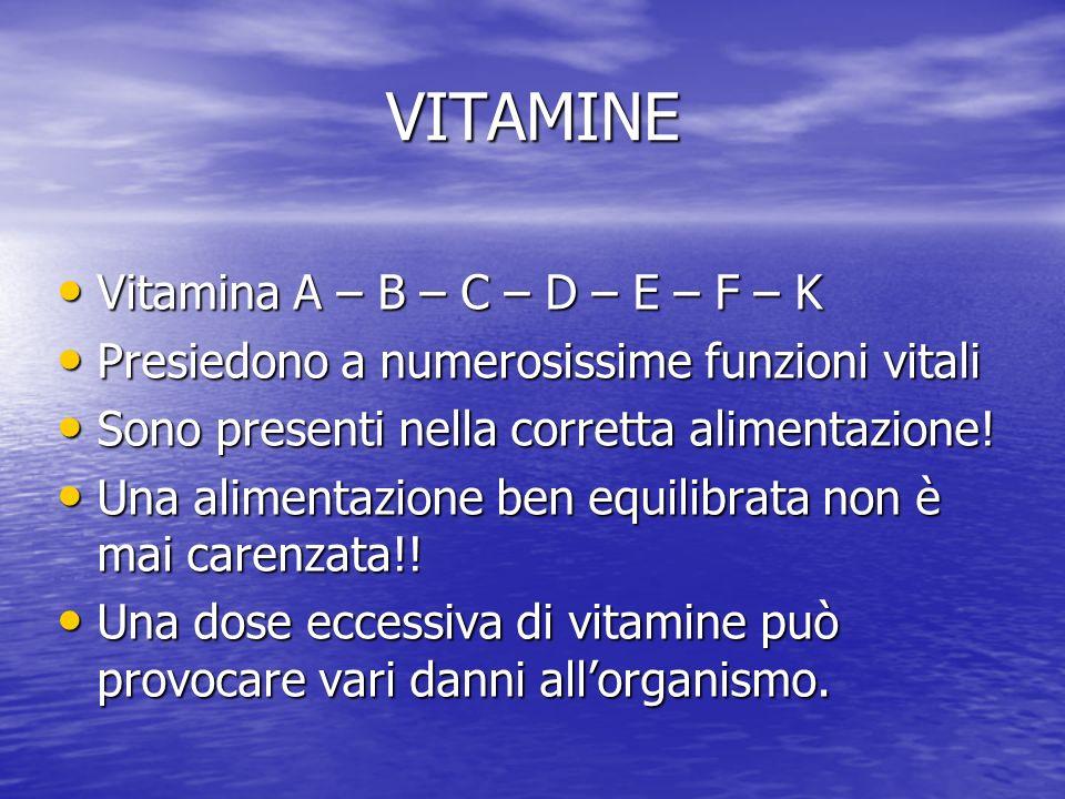 VITAMINE Vitamina A – B – C – D – E – F – K Vitamina A – B – C – D – E – F – K Presiedono a numerosissime funzioni vitali Presiedono a numerosissime f