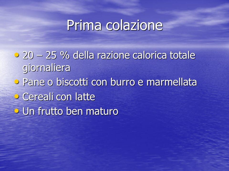 Prima colazione 20 – 25 % della razione calorica totale giornaliera 20 – 25 % della razione calorica totale giornaliera Pane o biscotti con burro e ma