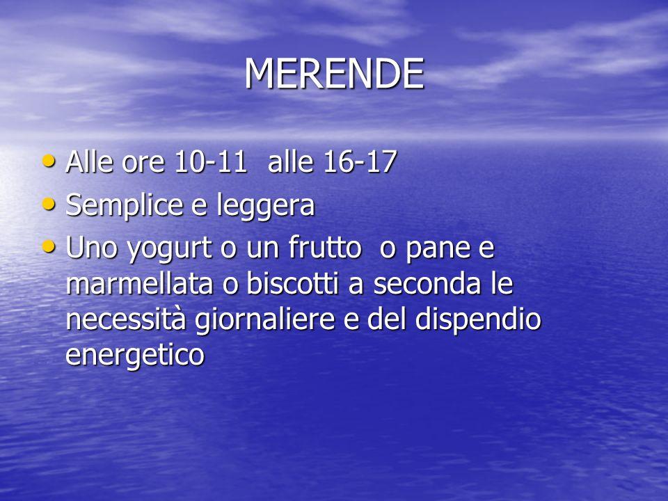MERENDE Alle ore 10-11 alle 16-17 Alle ore 10-11 alle 16-17 Semplice e leggera Semplice e leggera Uno yogurt o un frutto o pane e marmellata o biscott