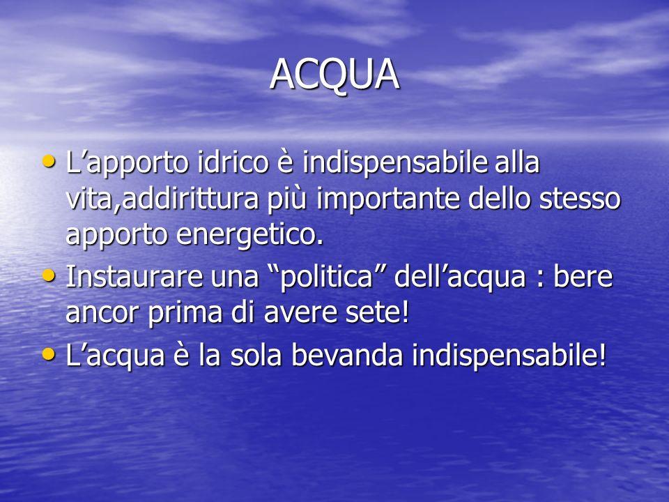 ACQUA Lapporto idrico è indispensabile alla vita,addirittura più importante dello stesso apporto energetico. Instaurare una politica dellacqua : bere