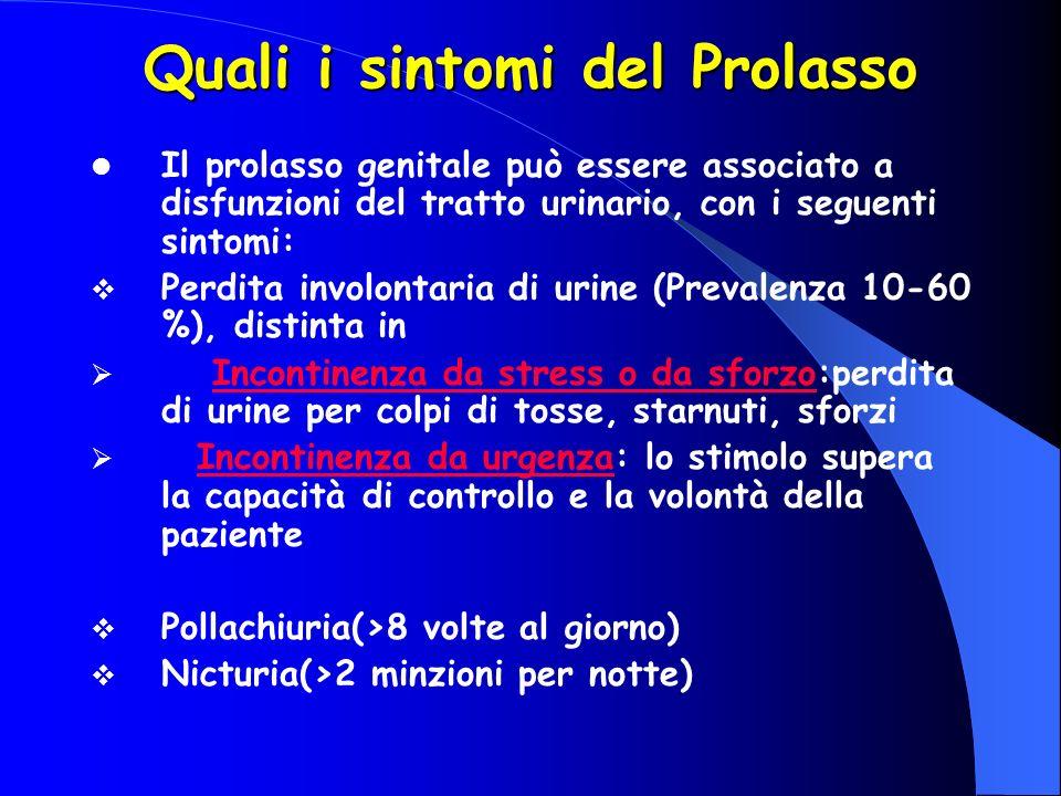 Il prolasso genitale può essere associato a disfunzioni del tratto urinario, con i seguenti sintomi: Perdita involontaria di urine (Prevalenza 10-60 %), distinta in Incontinenza da stress o da sforzo:perdita di urine per colpi di tosse, starnuti, sforzi Incontinenza da urgenza: lo stimolo supera la capacità di controllo e la volontà della paziente Pollachiuria(>8 volte al giorno) Nicturia(>2 minzioni per notte) Quali i sintomi del Prolasso