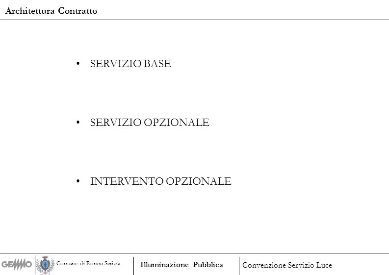 Esercizio e gestione Manutenzione ordinaria Servizi di ingegneria a supporto delle attività operative Servizio di acquisto di energia elettrica Servizio base Illuminazione Pubblica Convenzione Servizio Luce Comune di Ronco Scrivia