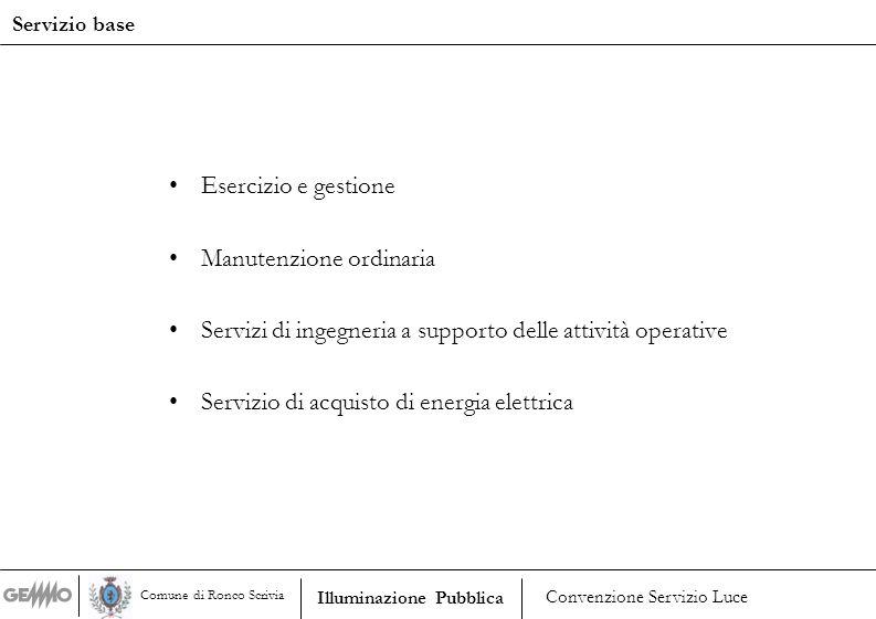 Esercizio e gestione Manutenzione ordinaria Servizi di ingegneria a supporto delle attività operative Servizio di acquisto di energia elettrica Serviz