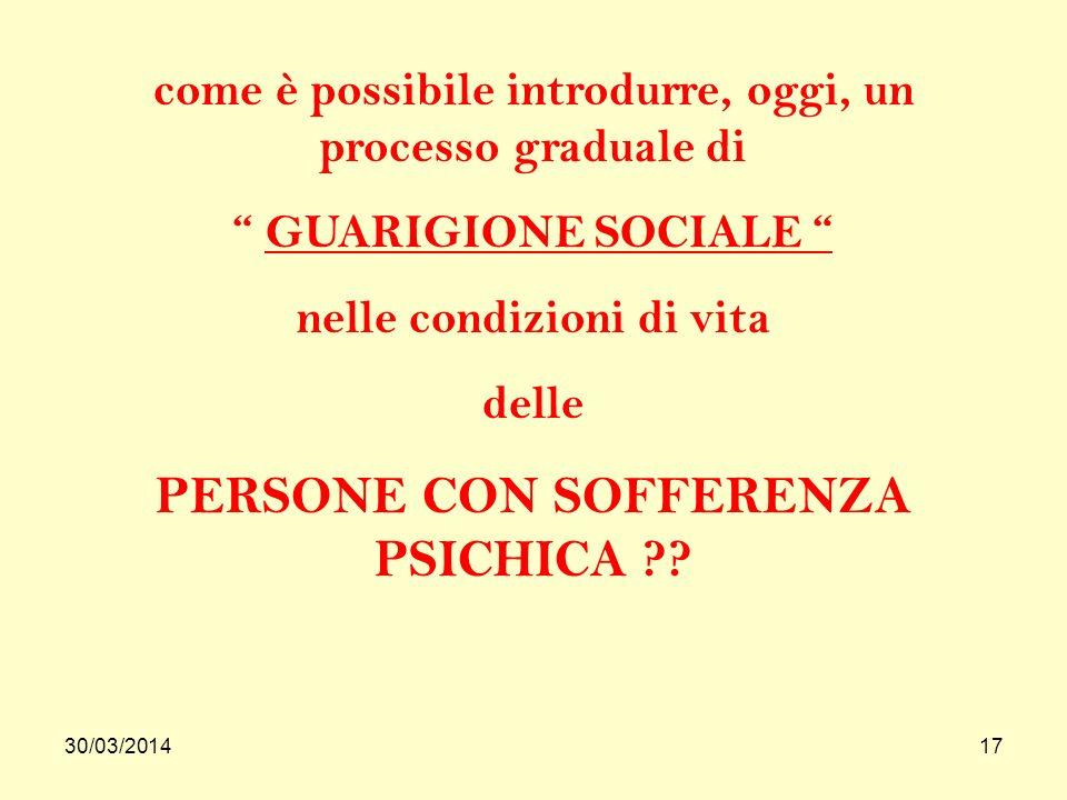 30/03/201417 come è possibile introdurre, oggi, un processo graduale di GUARIGIONE SOCIALE nelle condizioni di vita delle PERSONE CON SOFFERENZA PSICHICA