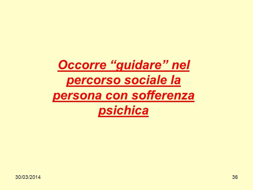 30/03/201436 Occorre guidare nel percorso sociale la persona con sofferenza psichica