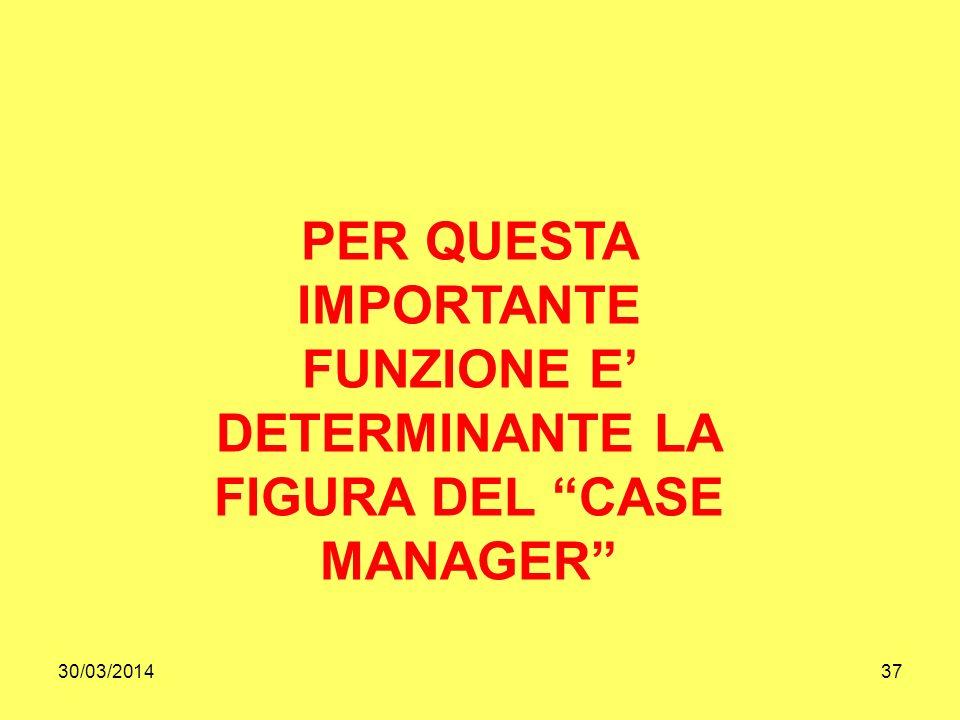 30/03/201437 PER QUESTA IMPORTANTE FUNZIONE E DETERMINANTE LA FIGURA DEL CASE MANAGER