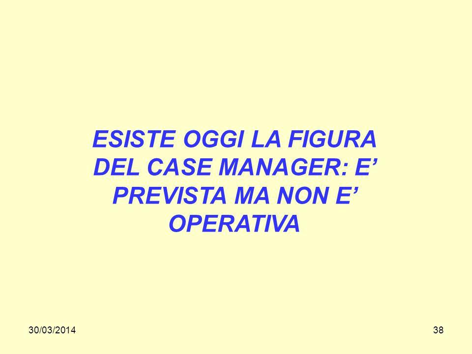 30/03/201438 ESISTE OGGI LA FIGURA DEL CASE MANAGER: E PREVISTA MA NON E OPERATIVA