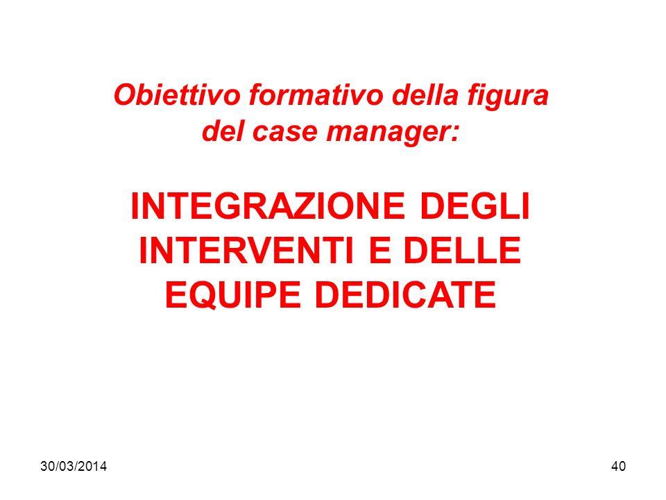 30/03/201440 Obiettivo formativo della figura del case manager: INTEGRAZIONE DEGLI INTERVENTI E DELLE EQUIPE DEDICATE