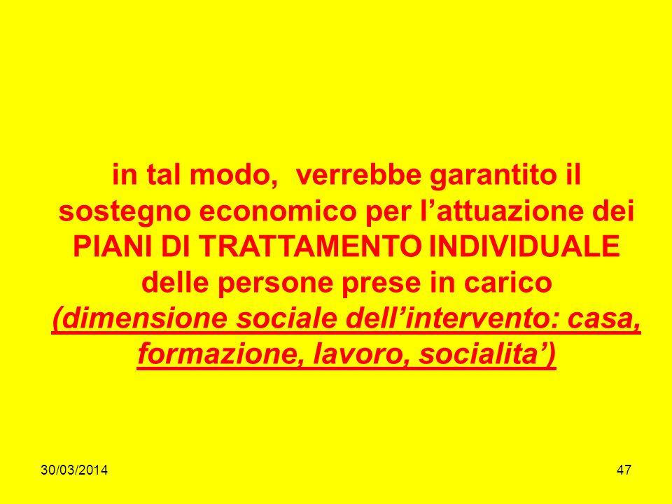 30/03/201447 in tal modo, verrebbe garantito il sostegno economico per lattuazione dei PIANI DI TRATTAMENTO INDIVIDUALE delle persone prese in carico (dimensione sociale dellintervento: casa, formazione, lavoro, socialita)