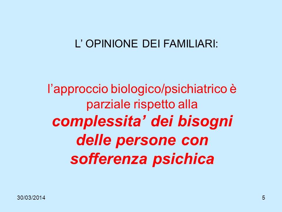 30/03/20145 L OPINIONE DEI FAMILIARI: lapproccio biologico/psichiatrico è parziale rispetto alla complessita dei bisogni delle persone con sofferenza psichica