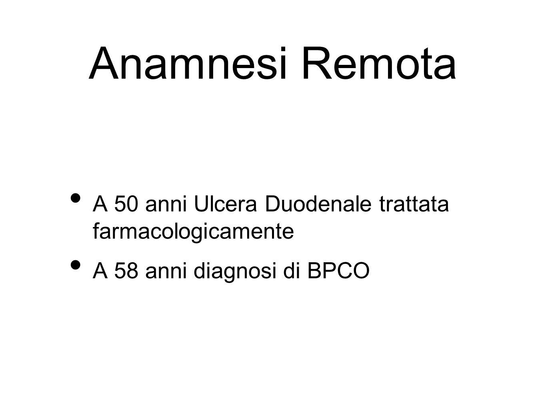 Anamnesi Remota A 50 anni Ulcera Duodenale trattata farmacologicamente A 58 anni diagnosi di BPCO