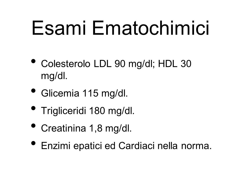 Esami Ematochimici Colesterolo LDL 90 mg/dl; HDL 30 mg/dl. Glicemia 115 mg/dl. Trigliceridi 180 mg/dl. Creatinina 1,8 mg/dl. Enzimi epatici ed Cardiac