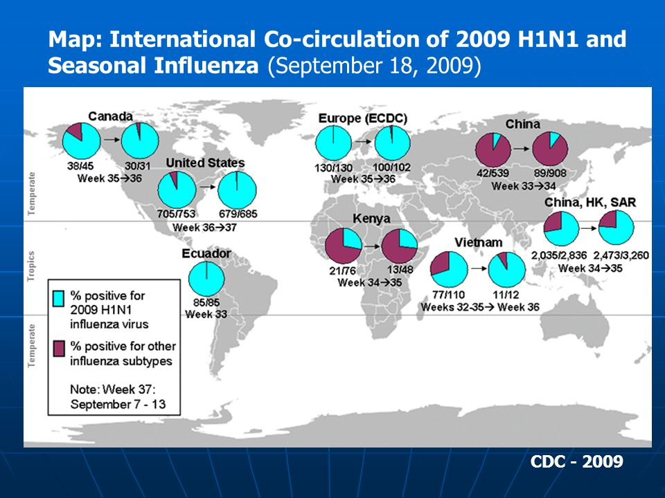 Map: International Co-circulation of 2009 H1N1 and Seasonal Influenza (September 18, 2009) CDC - 2009