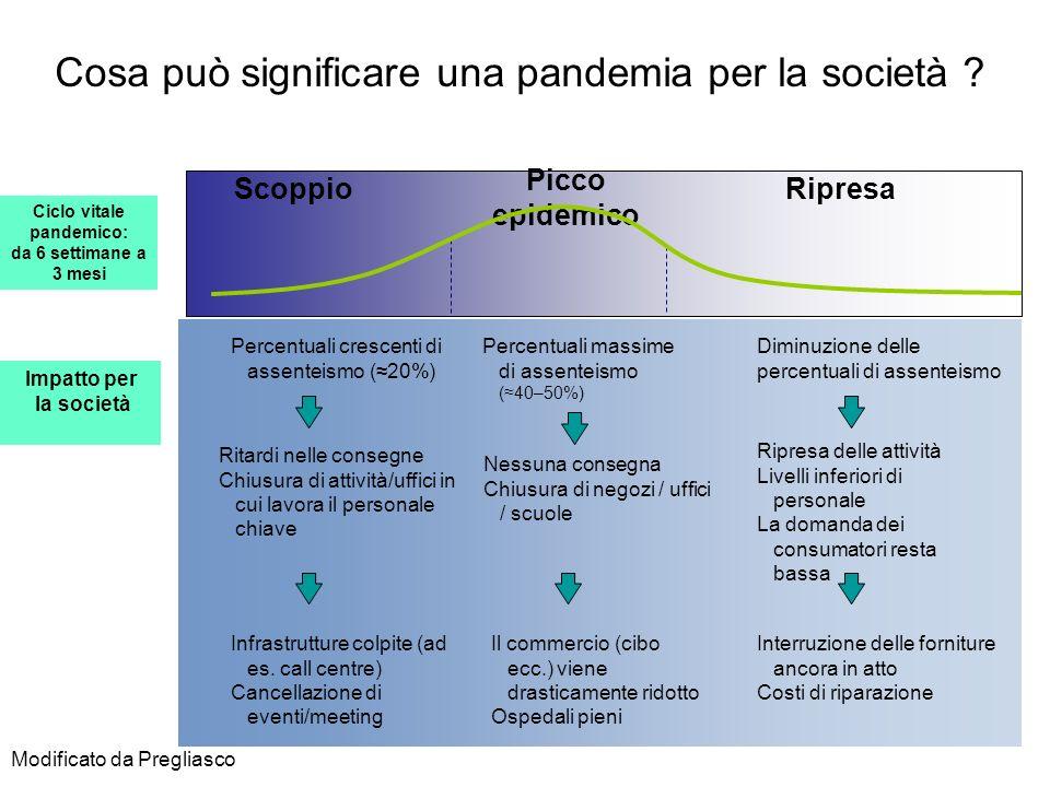 Cosa può significare una pandemia per la società ? Percentuali crescenti di assenteismo (20%) Percentuali massime di assenteismo (40–50%) Diminuzione