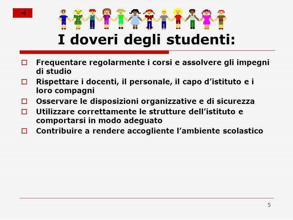 5 I doveri degli studenti: Frequentare regolarmente i corsi e assolvere gli impegni di studio Rispettare i docenti, il personale, il capo distituto e
