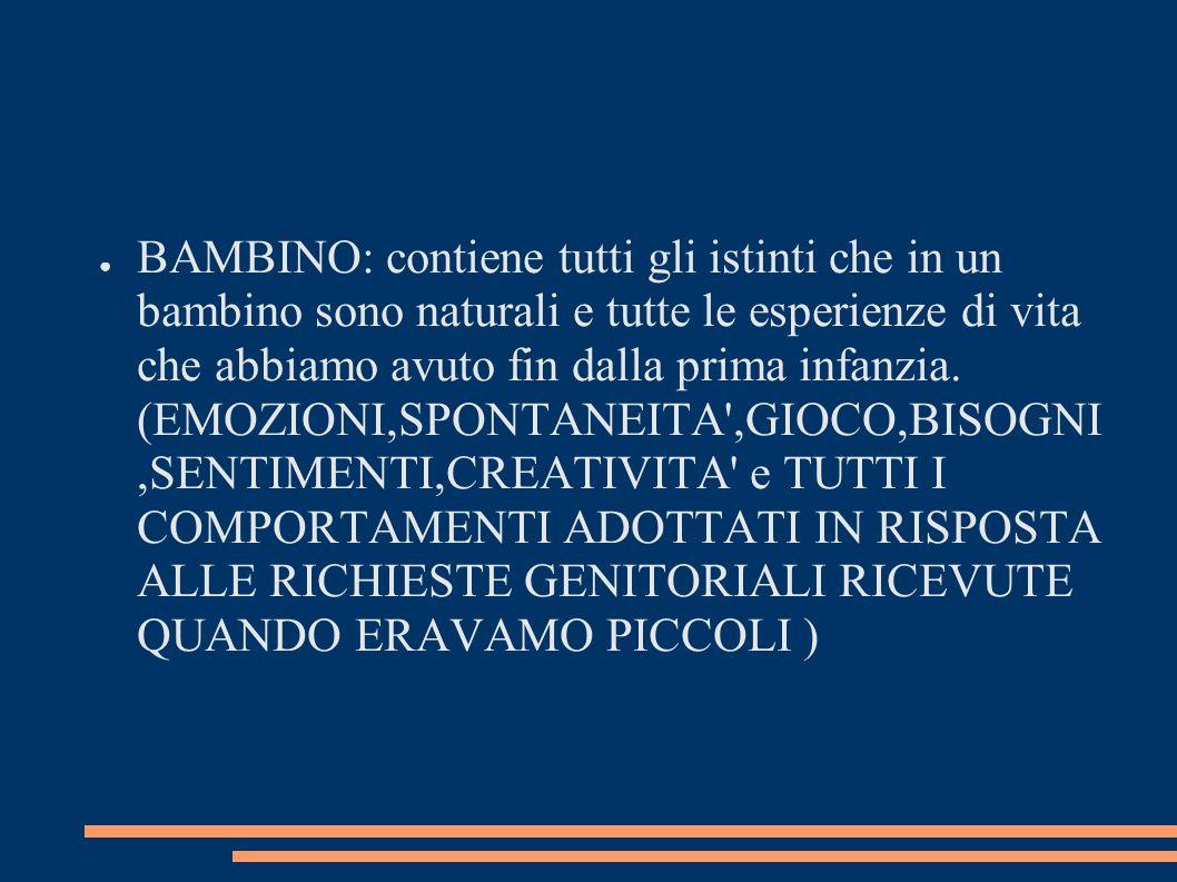 BAMBINO: contiene tutti gli istinti che in un bambino sono naturali e tutte le esperienze di vita che abbiamo avuto fin dalla prima infanzia. (EMOZION