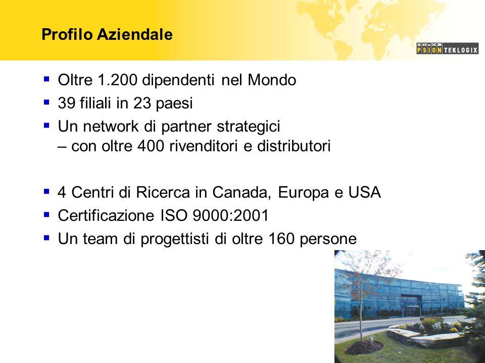 Profilo Aziendale Oltre 1.200 dipendenti nel Mondo 39 filiali in 23 paesi Un network di partner strategici – con oltre 400 rivenditori e distributori 4 Centri di Ricerca in Canada, Europa e USA Certificazione ISO 9000:2001 Un team di progettisti di oltre 160 persone
