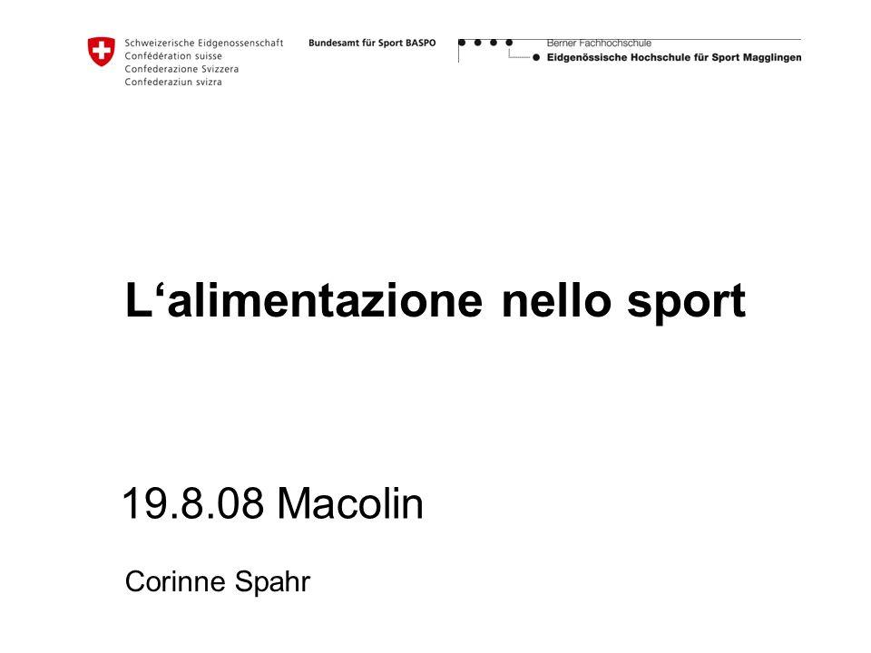 Lalimentazione nello sport 19.8.08 Macolin Corinne Spahr
