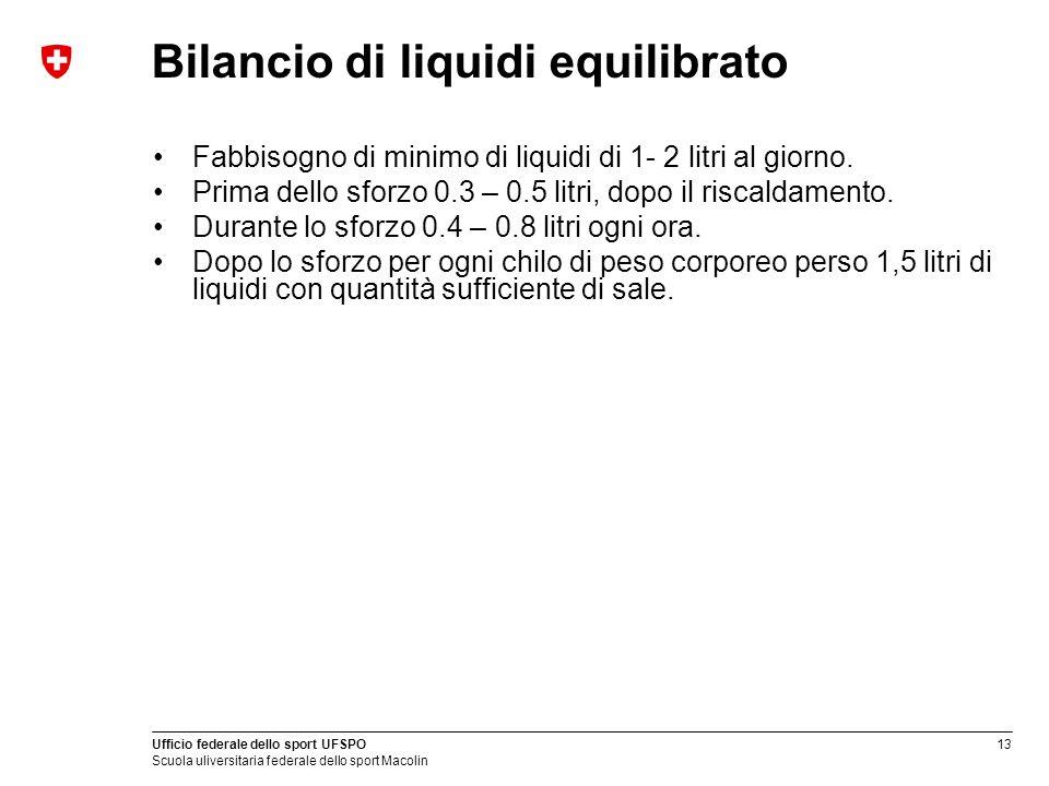 13 Ufficio federale dello sport UFSPO Scuola uliversitaria federale dello sport Macolin Bilancio di liquidi equilibrato Fabbisogno di minimo di liquid