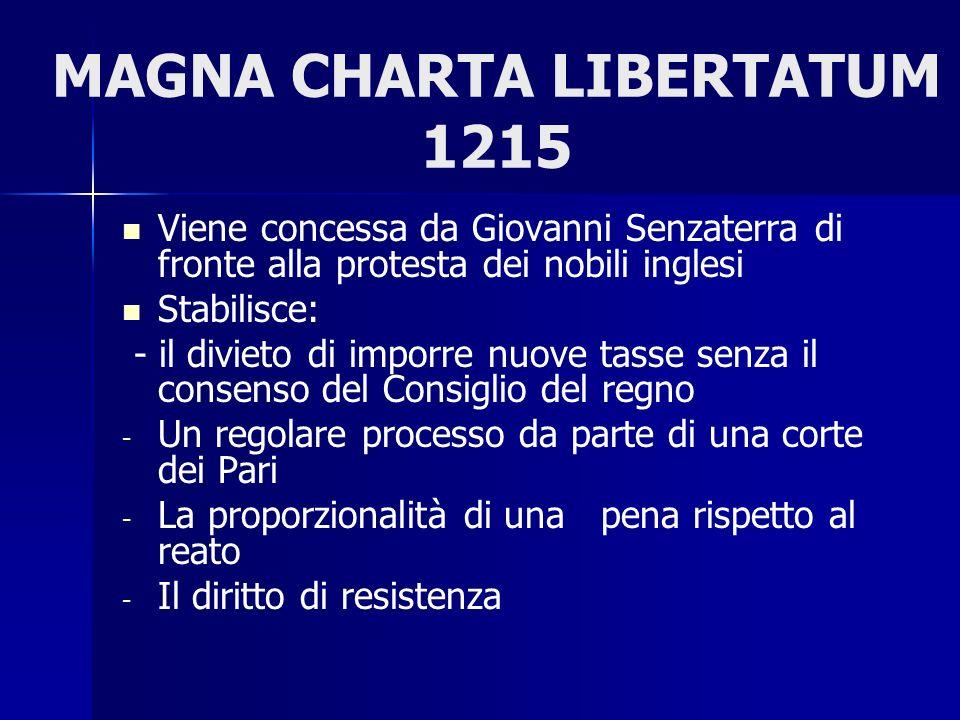 MAGNA CHARTA LIBERTATUM 1215 Viene concessa da Giovanni Senzaterra di fronte alla protesta dei nobili inglesi Stabilisce: - il divieto di imporre nuov