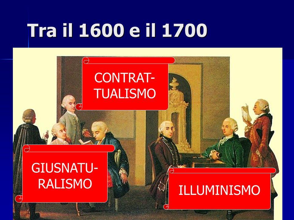 Tra il 1600 e il 1700 GIUSNATU- RALISMO CONTRAT- TUALISMO ILLUMINISMO