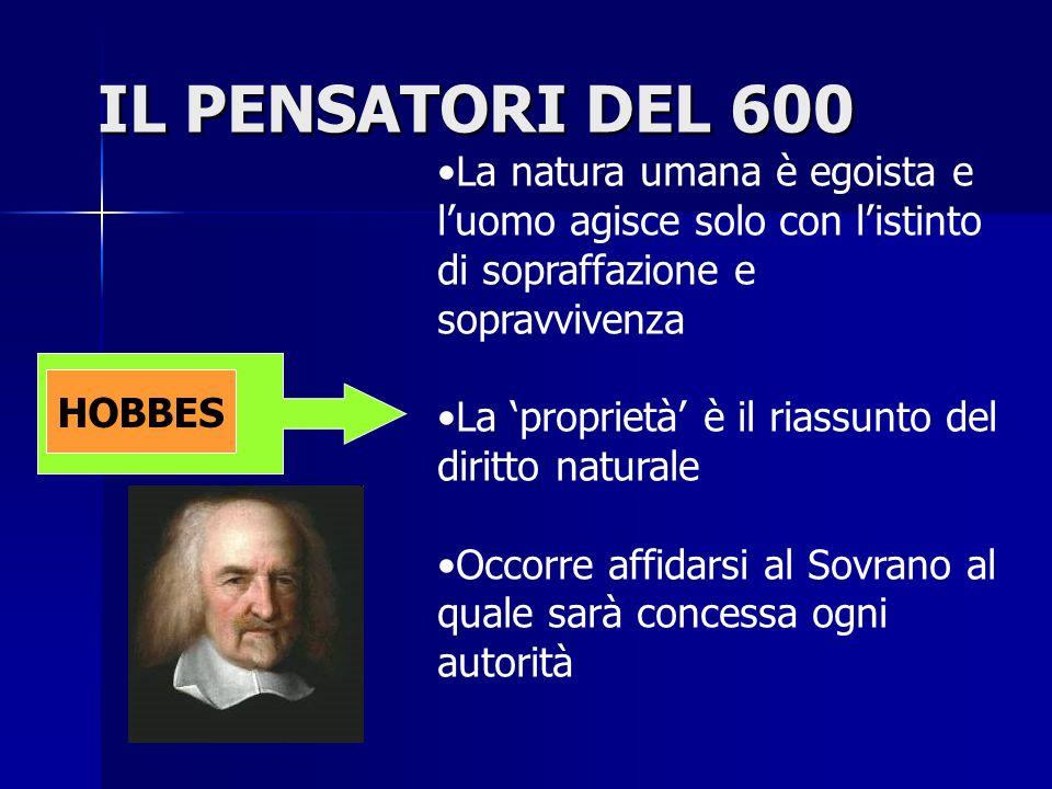 IL PENSATORI DEL 600 HOBBES La natura umana è egoista e luomo agisce solo con listinto di sopraffazione e sopravvivenza La proprietà è il riassunto de