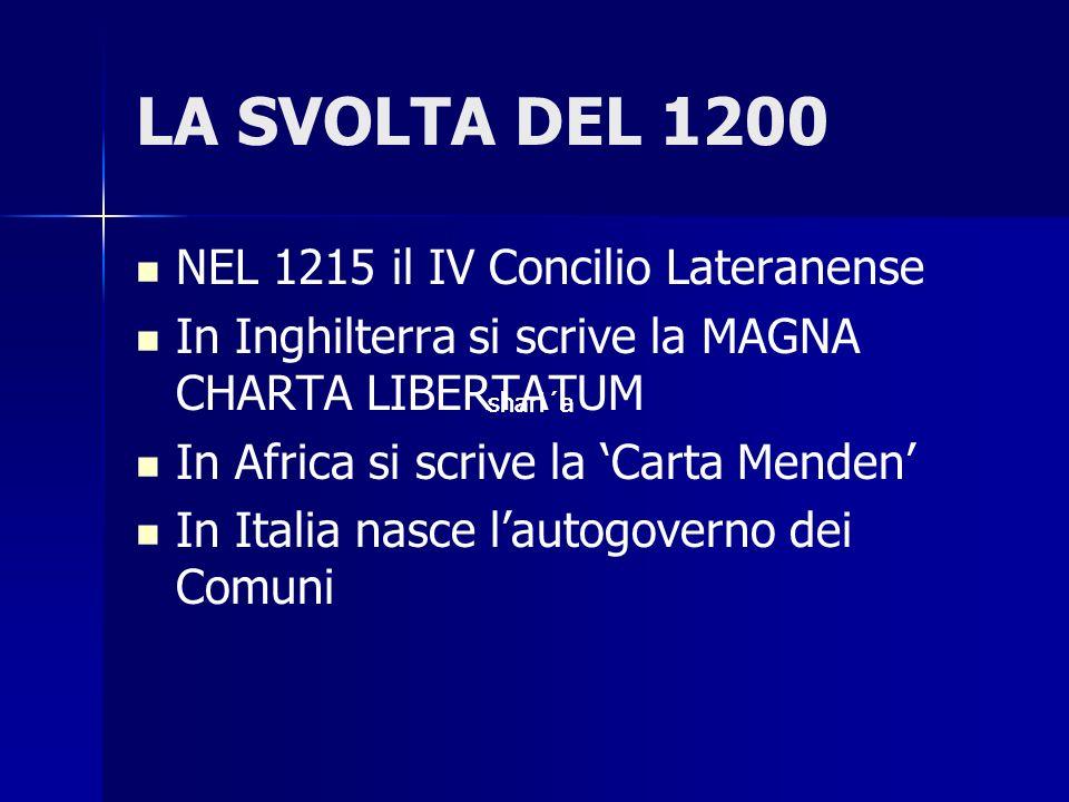 LA SVOLTA DEL 1200 NEL 1215 il IV Concilio Lateranense In Inghilterra si scrive la MAGNA CHARTA LIBERTATUM In Africa si scrive la Carta Menden In Ital