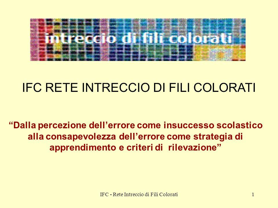 IFC - Rete Intreccio di Fili Colorati1 IFC RETE INTRECCIO DI FILI COLORATI Dalla percezione dellerrore come insuccesso scolastico alla consapevolezza dellerrore come strategia di apprendimento e criteri di rilevazione