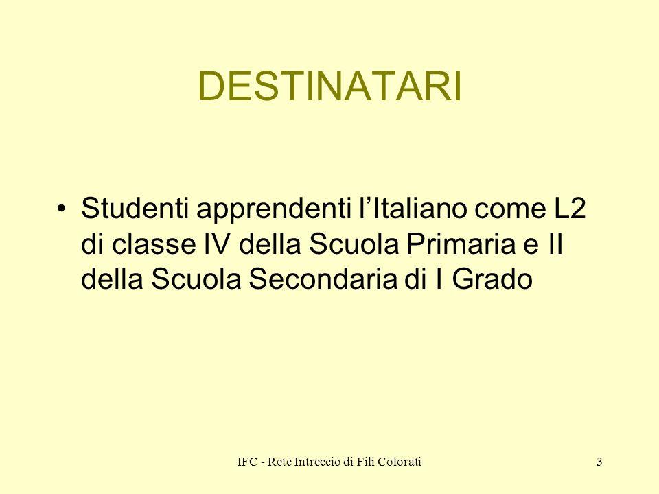 IFC - Rete Intreccio di Fili Colorati3 DESTINATARI Studenti apprendenti lItaliano come L2 di classe IV della Scuola Primaria e II della Scuola Secondaria di I Grado