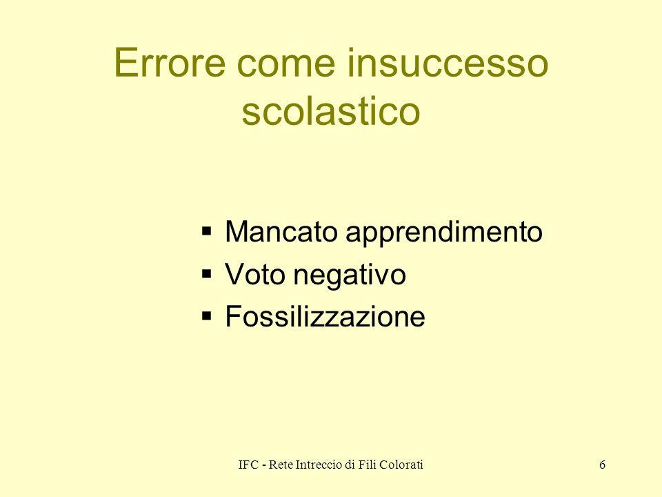 IFC - Rete Intreccio di Fili Colorati6 Errore come insuccesso scolastico Mancato apprendimento Voto negativo Fossilizzazione