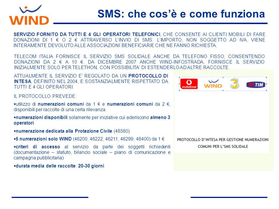 SMS: che cosè e come funziona SERVIZIO FORNITO DA TUTTI E 4 GLI OPERATORI TELEFONICI, CHE CONSENTE AI CLIENTI MOBILI DI FARE DONAZIONI DI 1 O 2 ATTRAVERSO LINVIO DI SMS.