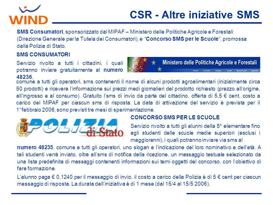 CSR - Altre iniziative SMS SMS Consumatori, sponsorizzato dal MIPAF – Ministero delle Politiche Agricole e Forestali (Direzione Generale per la Tutela dei Consumatori), e Concorso SMS per le Scuole, promossa dalla Polizia di Stato.