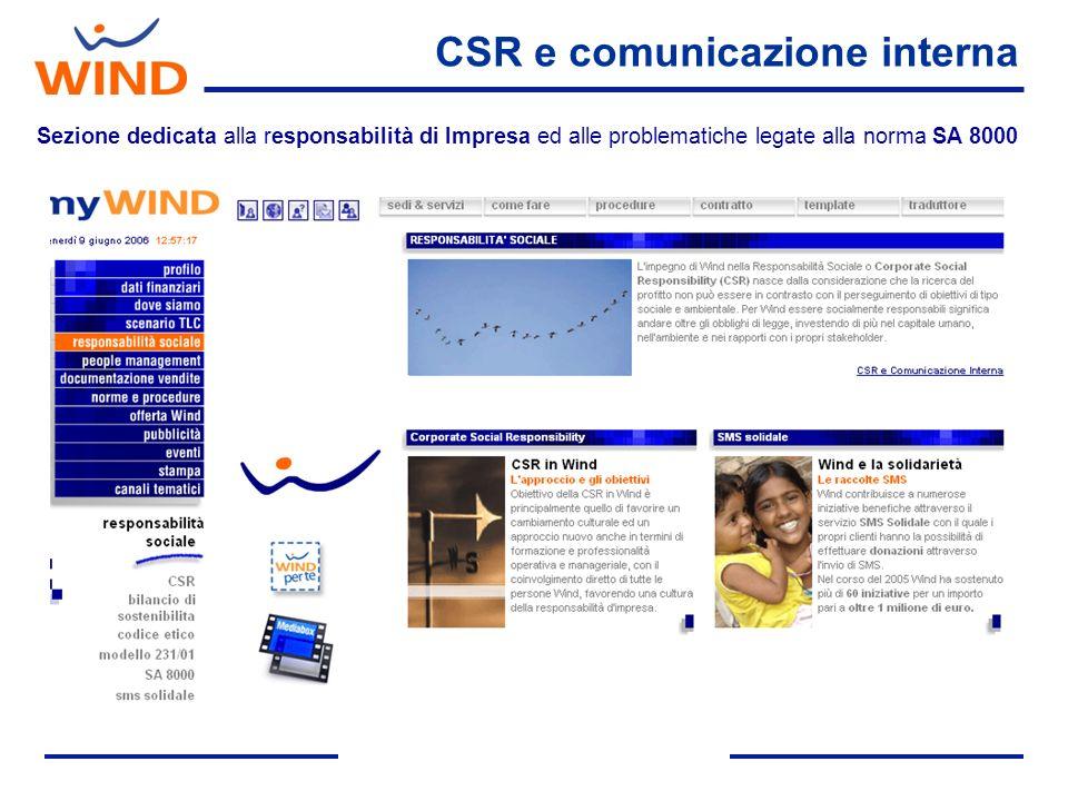 Sezione dedicata alla responsabilità di Impresa ed alle problematiche legate alla norma SA 8000 CSR e comunicazione interna