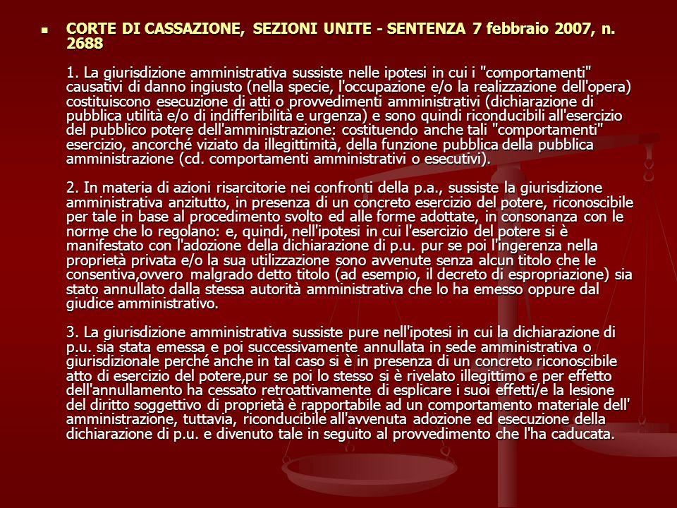 CORTE DI CASSAZIONE, SEZIONI UNITE - SENTENZA 7 febbraio 2007, n.