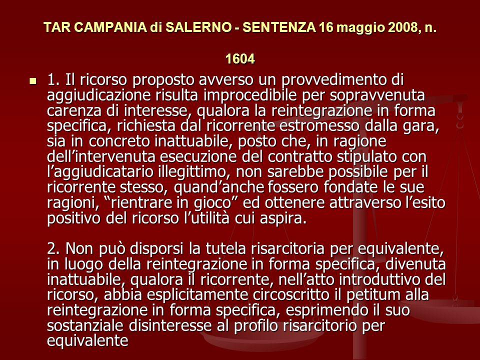 TAR CAMPANIA di SALERNO - SENTENZA 16 maggio 2008, n.