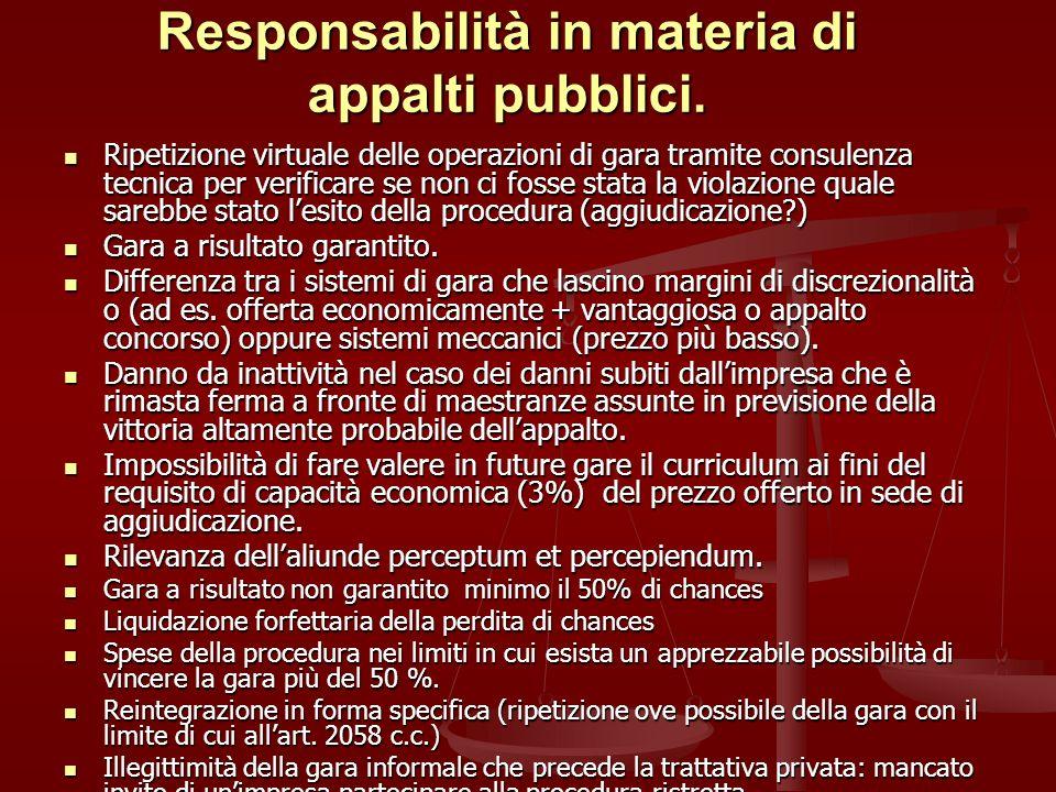 Responsabilità in materia di appalti pubblici.