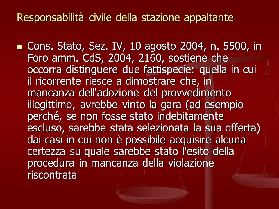 Responsabilità civile della stazione appaltante Cons.
