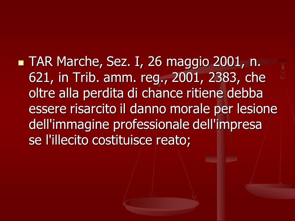 TAR Marche, Sez.I, 26 maggio 2001, n. 621, in Trib.