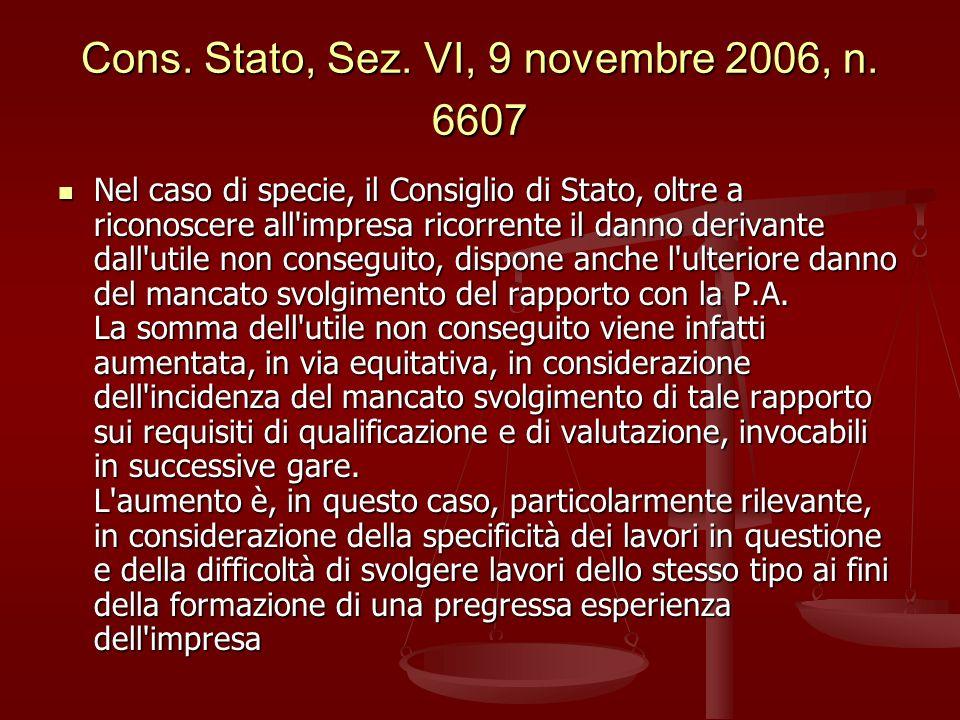 Cons.Stato, Sez. VI, 9 novembre 2006, n.